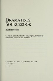 Cover of: Dramatists sourcebook