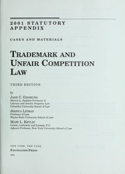 Cover of: Trademark and unfair competition law