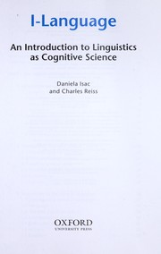 Cover of: I-language : an introduction to linguistics as cognitive science |
