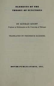Cover of: Elements of the theory of functions