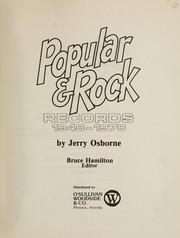 Cover of: Popular & rock records, 1948-1978
