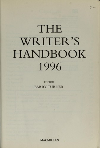 The writer's handbook, 1996 by ed. by Barry Turner