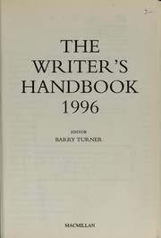 Cover of: The writer's handbook, 1996 | ed. by Barry Turner