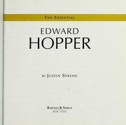 Cover of: The essential Edward Hopper | Justin Spring