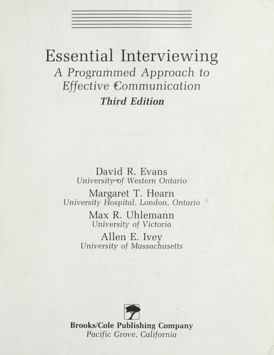 Essential interviewing by David R. Evans ... [et. al.].