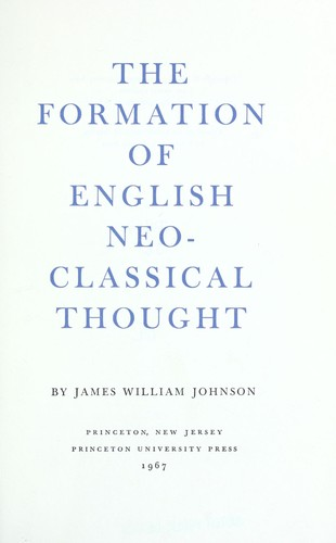 The Formation of English Neo-Classical Thought
