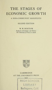 Cover of: The stages of economic growth | W. W. Rostow