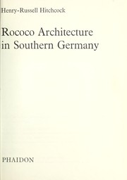 Cover of: Rococo architecture in Southern Germany