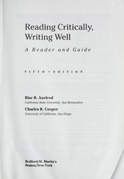Cover of: Reading critically, writing well