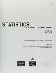 Cover of: Statistics in a world of applications
