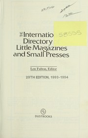 Cover of: The International directory of little magazines and small presses | Len Fulton