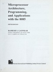 Cover of: Microprocessor architecture, programming, and applications with the 8085