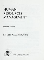 Cover of: Human resources management | Robert H. Woods