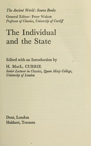 Cover of: The individual and the state