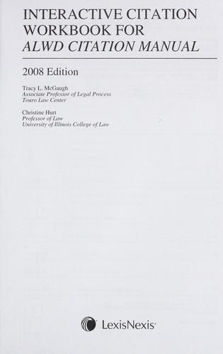 Interactive citation workbook for alwd citation manual: tracy l.