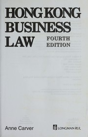 Cover of: Hong Kong business law | Anne Carver