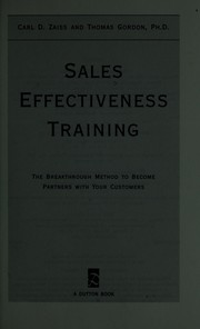 Cover of: Sales effectiveness training | Carl D. Zaiss