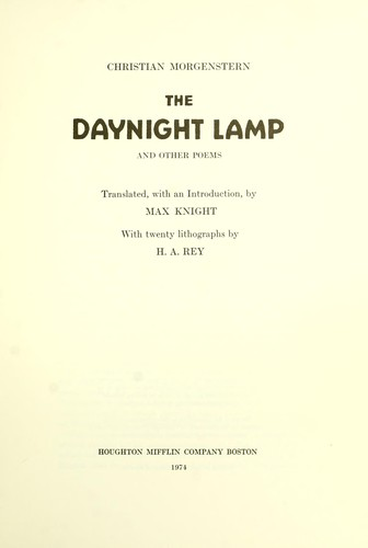 The daynight lamp and other poems 1974 edition open for Lamp light poem