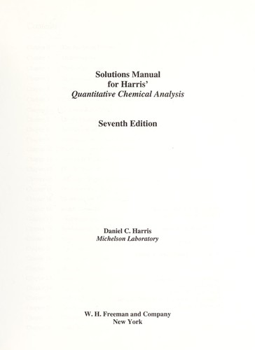Solutions Manual For Harris Quantitative Chemical Analysis Seventh