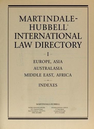 Martindale-Hubbell international law directory by Martindale-Hubbell (Firm)