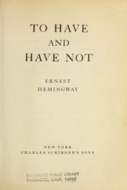 Cover of: To have and to have not | Ernest Hemingway