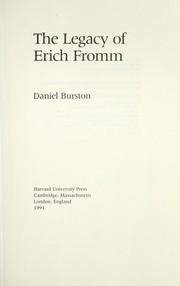 Cover of: The legacy of Erich Fromm | Daniel Burston
