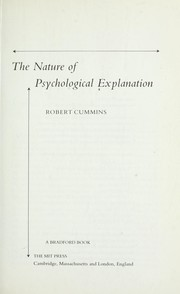 Cover of: The nature of psychological explanation