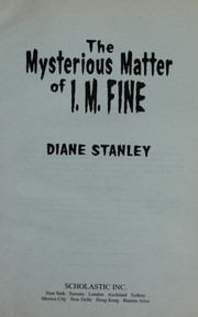 Cover of: The Mysterious Matter of I. M. Fine |
