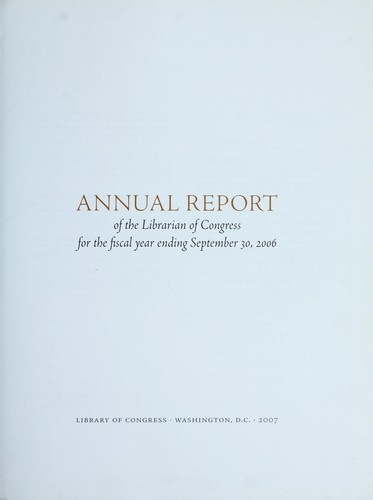 Annual report of the Librarian of Congress by Library of Congress