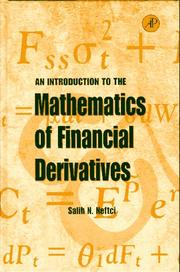 Cover of: An introduction to the mathematics of financial derivatives