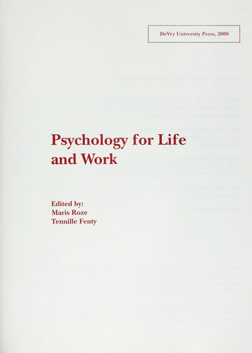 Psychology for life and work by Maris Roze, Tennille Fenty