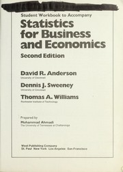 Cover of: Student workbook to accompany Statistics for business and economics | Mohammad Ahmadi