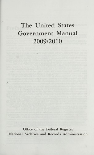 The United States government manual 2009/2010 by United States. Office of the Federal Register