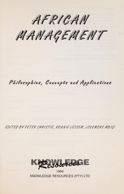 Cover of: African management