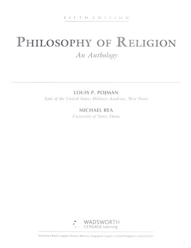 Philosophy of religion : an anthology by