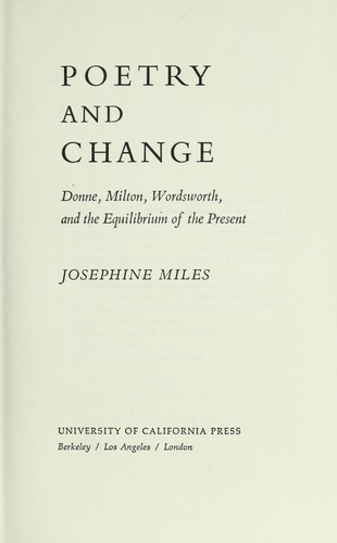 Poetry and change by Josephine Miles