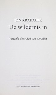 Cover of: De wildernis in