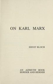 Cover of: On Karl Marx