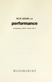 Cover of: Mick Brown on Performance