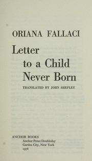 Cover of: Letter to a child never born