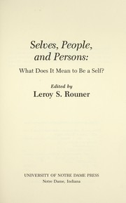 Cover of: Selves, people, and persons : what does it mean to be a self? |