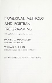 Cover of: Numerical methods and FORTRAN programming: with applications in engineering and science