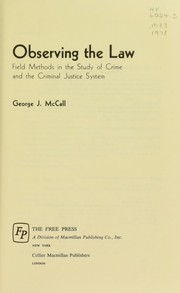Cover of: Observing the law | George J. McCall