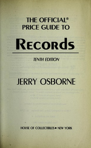 Records, 10th Edition (Official Price Guide to Records) by Jerry Osborne