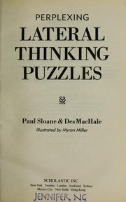 Cover of: Perplexing lateral thinking puzzles