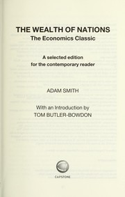 Cover of: The wealth of nations | Adam Smith