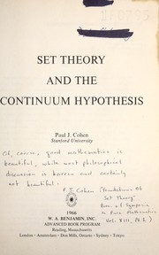 Cover of: Set theory and the continuum hypothesis