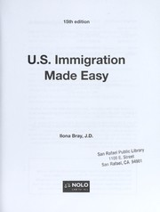 Cover of: U.S. immigration made easy | Ilona M. Bray