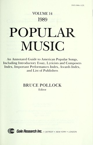 Popular Music, 1989 (June 1990 edition) | Open Library