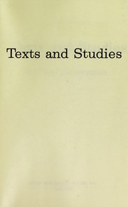 Cover of: Texts and studies